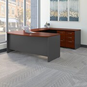 Bush Business Westfield 72W Bowfront U-Station with 2 and 3 Drawer Mobile Pedestals, Hansen Cherry/Graphite Gray, Installed