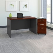 "Bush Westfield 48""W Desk with 3-Drawer File, Hansen Cherry"