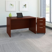 Bush Business Westfield 48W Desk with Pre-Assembled 3Dwr Mobile Pedestal, Cherry Mahogany