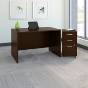 Bush Business Westfield 48W Desk with Pre-Assembled 3Dwr Mobile Pedestal, Mocha Cherry, Installed