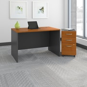 Bush Business Westfield 48W Desk with Pre-Assembled 3Dwr Mobile Pedestal, Natural Cherry, Installed