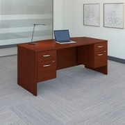 "Bush Westfield 72""W x 36""D Bow Front Desk with (2) 3/4 Pedestals, Cherry Mahogany, Installed (SRC063MASUFA)"