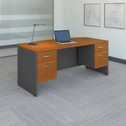 "Bush Westfield 72""W x 36""D Bow Front Desk with (2) 3/4 Pedestals, Natural Cherry/Graphite Gray, Installed (SRC063NCSUFA)"