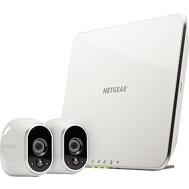 Netgear Arlo Smart Home Indoor/Outdoor Wireless High-Definition IP Security Cameras, White/Black, 2/Pack