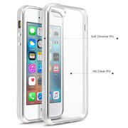 BasAcc Clear TPU Rubber Back Cover with Silver Chrome Edge Bumper For Apple iPhone SE / 5S / 5