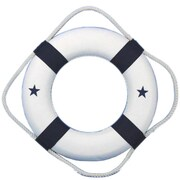 Handcrafted Nautical Decor Classic 6'' White Decorative Lifering w/ Bands Wall D cor; Blue