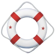 Handcrafted Nautical Decor Classic 6'' White Decorative Lifering w/ Bands Wall D cor; Red