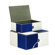 Cole & Grey Wood Leather 2 Piece Box Set