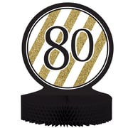Creative Converting Black and Gold 80th Birthday Centerpiece