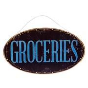 American Mercantile Metal Hanging Sign 'Groceries' Wall Decor