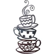 AdecoTrading Decorative Three Stacked Coffee Tea Cups Iron Widget Wall Decor