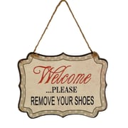 American Mercantile Metal Hanging Sign 'Remove Shoes' Wall Decor