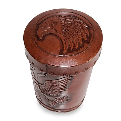 Novica Abel Rios 6 Piece American Patriot Leather Dice Cup and Dice Set (Set of 6) WYF078280022265