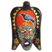 Novica Abdul Karim Star Frafra Red Robin African Sese Wood Mask Wall Decor