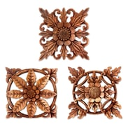 Novica 3 Piece Balinese Hand Carved Wood Floral Relief Panels Wall D cor Set