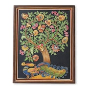 Novica Shweta Peacock and Flowers Indian Tree of Life Relief Panel Wall Decor
