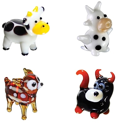 Looking Glass Figurines 4 Piece Miniature Cow, DairyCow, Deer, Bull Figurine Set WYF078280019077