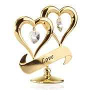 MatashiCrystal Valentine Gift 24K Gold Plated Love Double Heart Ornament Sculpture