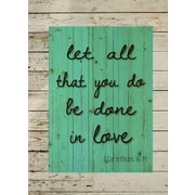 HadleyHouseCo Let All that You Do Be Done in Love Wood Pallet Sign WallD cor; 24'' H x 18'' W