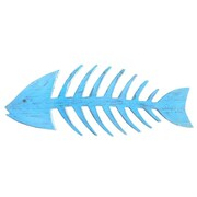 Handcrafted Nautical Decor Wooden Fishbone Wall Decor; Rustic Light Blue