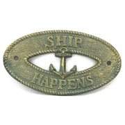 Handcrafted Nautical Decor Ship Happens Sign Wall D cor; Antique Bronze