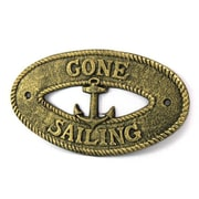Handcrafted Nautical Decor Gone Sailing Sign Wall D cor; Antique Gold