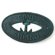 Handcrafted Nautical Decor Gone Sailing Sign Wall D cor; Seaworn Blue