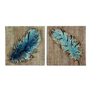 Wilco Home 2 Piece Embossed Metal Feather Wall D cor Set