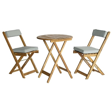 Cathay Importers Acacia Wood 3-Piece Bistro Set with Grey Cushions