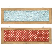 Urban Designs 2 Piece Fire and Ice Wood Frame Glass Mosaic Wall D cor