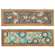 Urban Designs 2 Piece Midnight and Midday Wooden Frame Mosaic Wall D cor Set