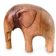 Novica Made Wirata Modern Elephant Artisan Crafted Wood Sculpture