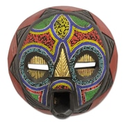 Novica Abdul Aziz Mohamadu My Beautiful Woman Hand Beaded Nigerian Wood Mask Wall Decor