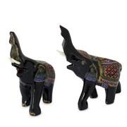 Novica Happy Elephants Lacquered Wood Figurine (Set of 2)