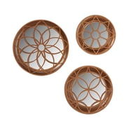 Kate and Laurel 3 Piece Hanging Mirror Wall Decor Set; Rose Gold