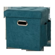 Glitz Home Cube Ottoman; Turquoise