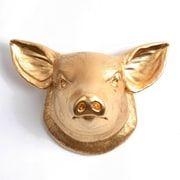 White Faux Taxidermy Hamlet Pig Wall D cor; Gold