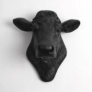 White Faux Taxidermy The Bessie Cow Head Wall D cor; Black