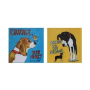 Creative Co-Op Canvas Dog Wall D cor (Set of 2)