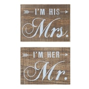 Creative Co-Op Sayings 2 Piece Mr. and Mrs. Wood Block Wall Decor Set