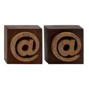 Woodland Imports Unique Wood Symbol Block (Set of 2); 6'' H x 6'' W x 4'' D