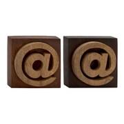 Woodland Imports Unique Wood Symbol Block (Set of 2); 8'' H x 8'' W x 3'' D