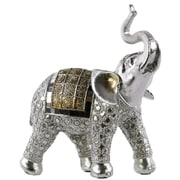 Urban Trends Polyresin Standing Trumpeting Elephant Figurine; Silver/Gold