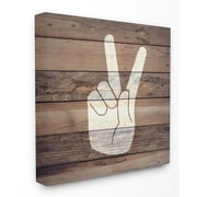 Stupell Industries Peace Hand Distressed Wood Framed Giclee Texturized Art