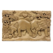 Novica Elephant Soccer Three Dimensional Hand Carved Wood Panel Wall D cor
