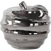 Urban Trends Spiral Ripple Design Apple Sculpture; Polished Chrome Silver