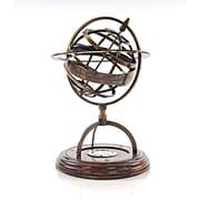 Old Modern Handicrafts Decorative Brass Armillery Globe w/ Compass on Wood Base