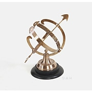 Old Modern Handicrafts Decorative Brass Armillary on Wooden Base
