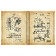 Picture it on Canvas 2 Piece Piano Patent Drawings Wall Decor Set