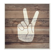 Stupell Industries Peace Hand Distressed Wood Wall Plaque